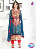 NS10041 Blue and Red Party Wear Embroidered Georgette Long Straight Suit