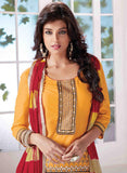 NS10020  Yellow & Red Color Semi Lawn Designer Suit