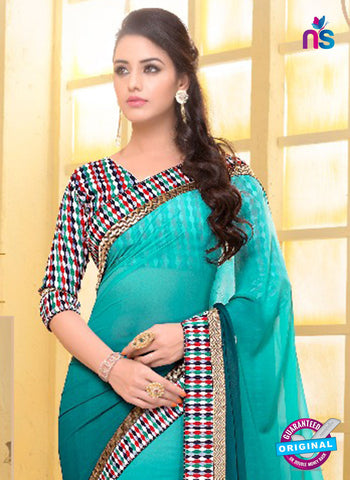 SC 13584 Sea Green Chiffon Fancy Function Wear Designer Saree