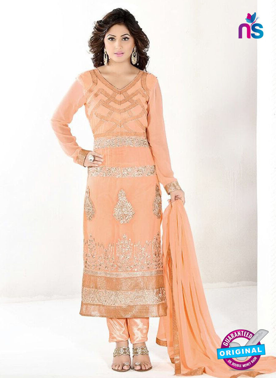 NS10043 Orange Party Wear Embroidered Georgette Long Straight Suit