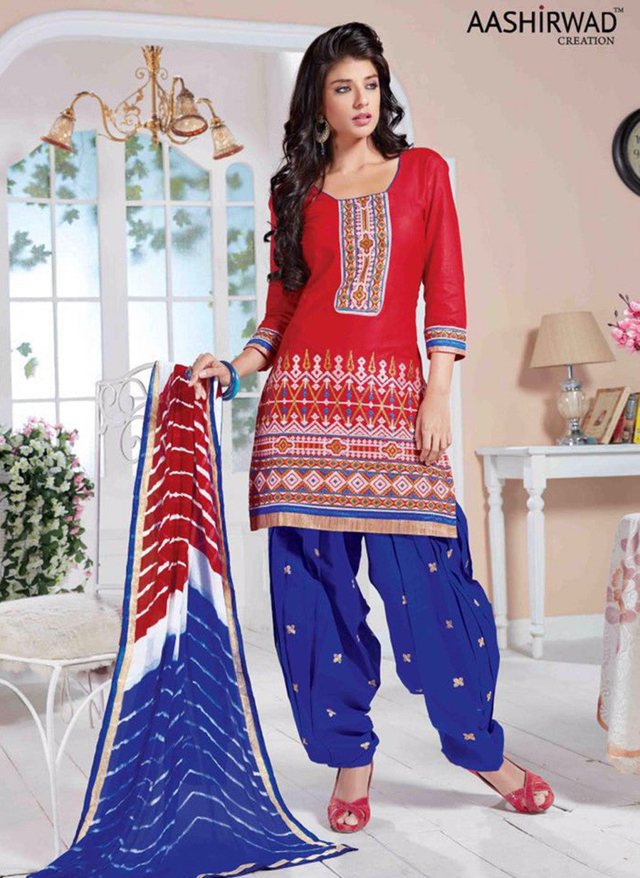 NS10021  Red & Blue Color Semi Lawn Designer Suit