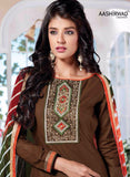 NS10022  Brown & Orange Color Semi Lawn Designer Suit