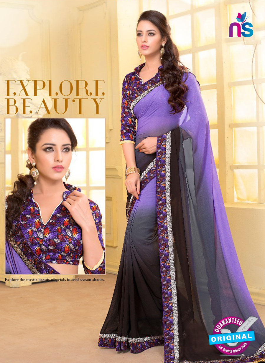 SC 13579 Purple and Black Chiffon Fancy Function Wear Designer Saree