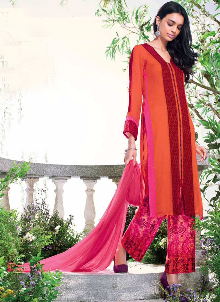 Ganga 4001 Orange & Pink Color Bemberg Georgette Designer Suit