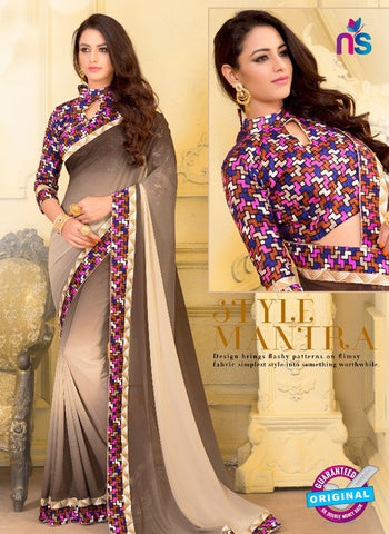 SC 13582 Brown Chiffon Fancy Function Wear Designer Saree