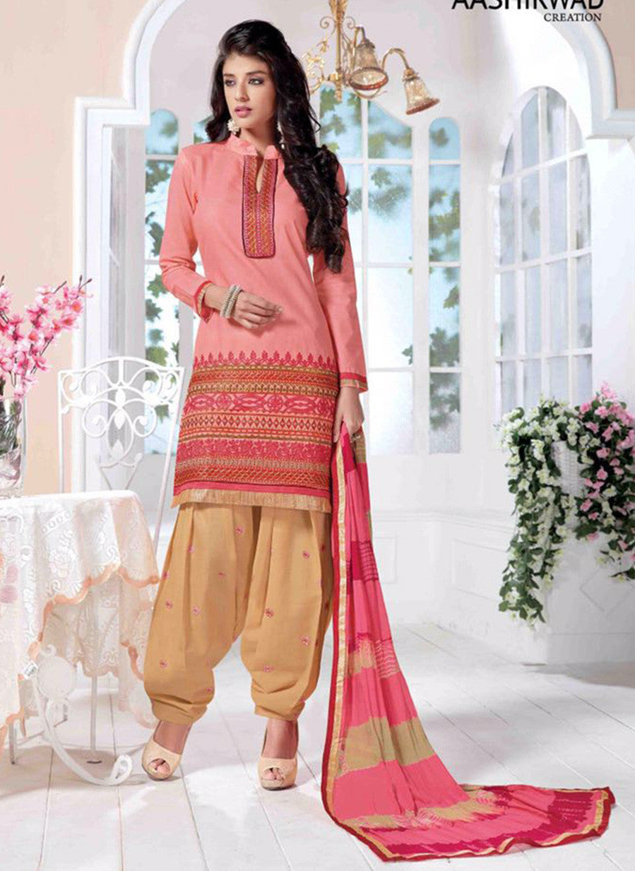 NS10024  Peach & Beige Color Semi Lawn Designer Suit