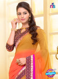 SC 13580 Yellow, Orange and Pink Chiffon Fancy Function Wear Designer Saree