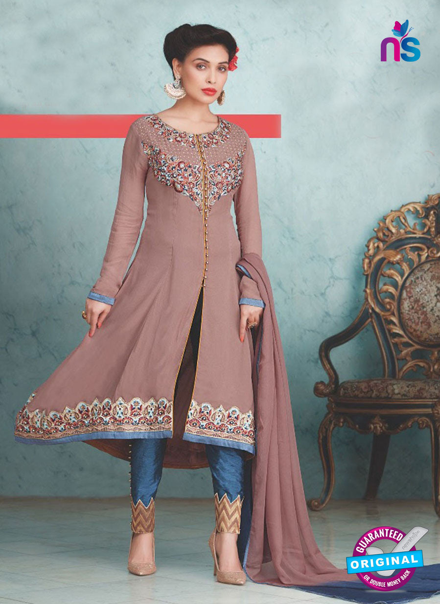 SC 13234 Brown and Blue Embroidered Georgette Designer Suit