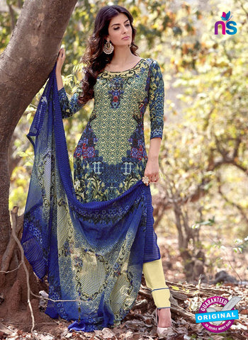 NS 12457 Blue and Beige Printed Cambric Suit