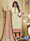 SC 13086 Beige and Red Embroidered Georgette Party Wear Straight Suit