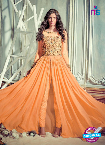 Jinaam 4001 Orange Georgette Embroidery Party Wear Suit