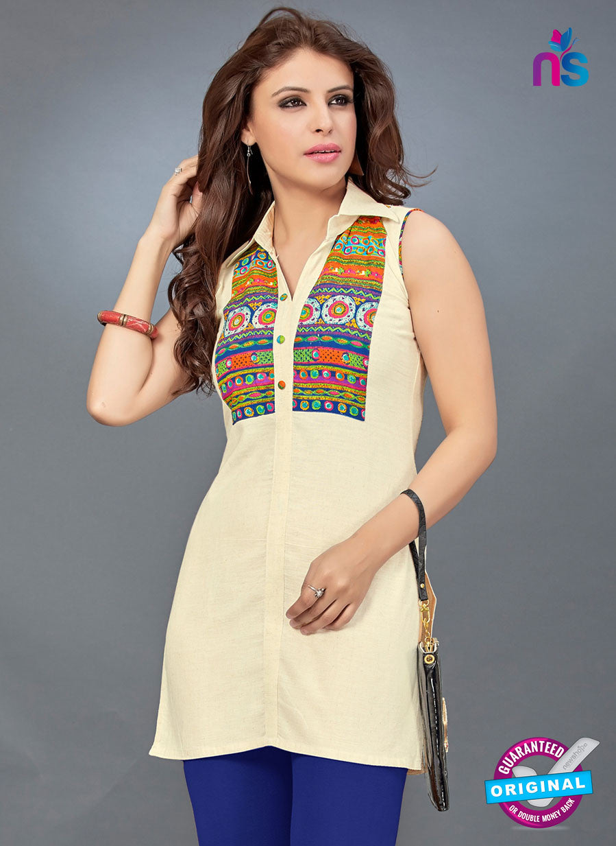 SC 13783 Beige Cotton Exclusive Fancy Semi Stitched Kurti