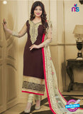 SC 13088 Brown and Beige Embroidered Georgette Party Wear Straight Suit