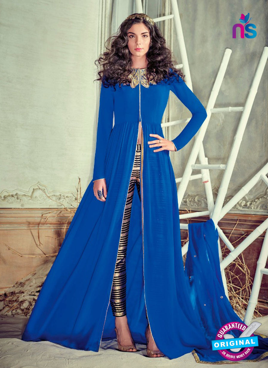Jinaam 4002 Blue Georgette Embroidery Party Wear Suit