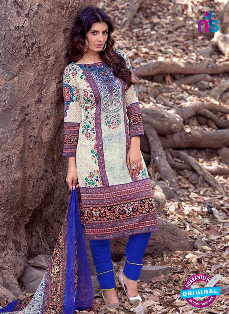 NS 12461 White and Blue Printed Cambric Suit Online