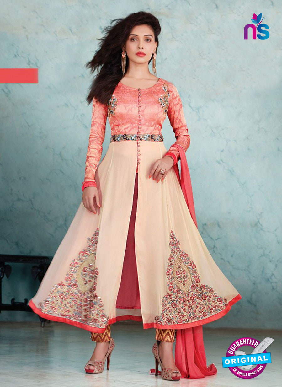 SC 13235 Peach Embroidered Georgette Designer Anarkali Suit