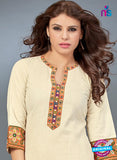 SC 13781 Beige Cotton Exclusive Fancy Semi Stitched Kurti