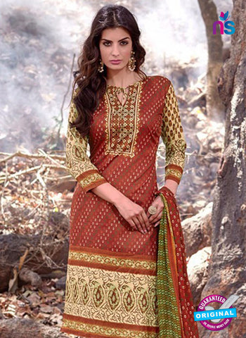 NS 12454 Brown and Beige Printed Cambric Suit Online