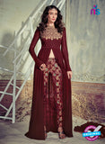 Jinaam 4003 Maroon Georgette Embroidery Party Wear Suit