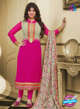 SC 13089 Beige and Pink Embroidered Georgette Party Wear Straight Suit