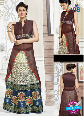 SC 42211 Brown Designer Kurti with Lehenga