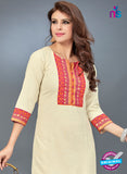 SC 13782 Beige Cotton Exclusive Fancy Semi Stitched Kurti
