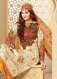 Velly 4003  Beige & Yellow Color Glace Cotton Designer Suit