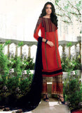Ganga 4003 Red & Black Color Bemberg Georgette Designer Suit