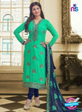 SC 13087 Green and Blue Embroidered Georgette Party Wear Straight Suit