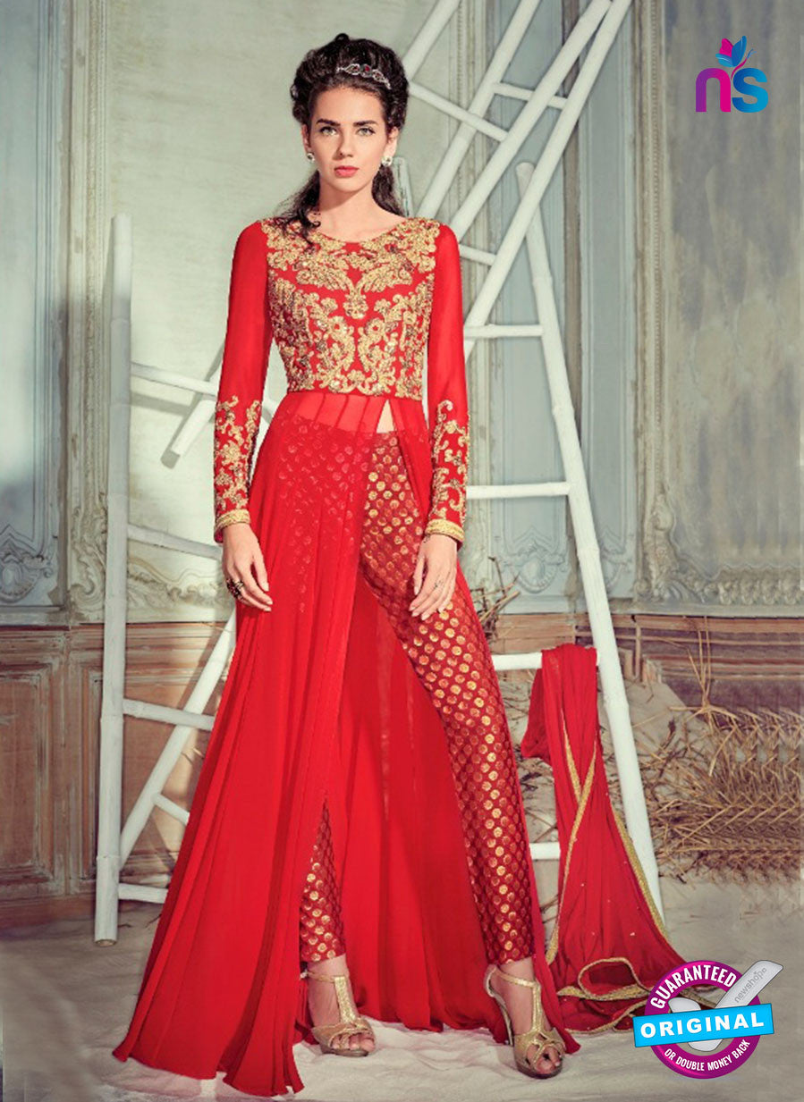 Jinaam 4004 Red Georgette Embroidery Party Wear Suit