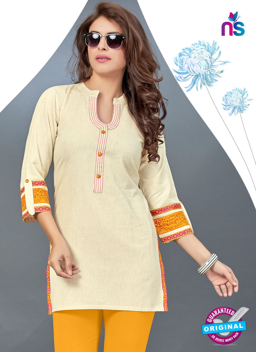 SC 13780 Beige Cotton Exclusive Fancy Semi Stitched Kurti