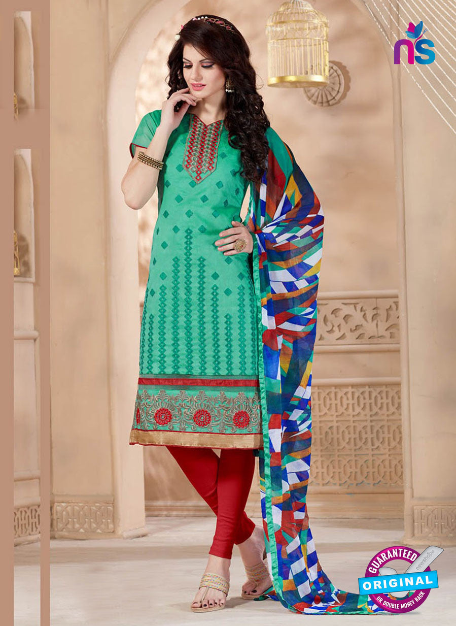 NS11065 Sea Green and Red Chanderi Straight Suit