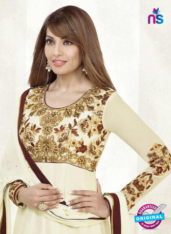 NS10198 Beige and Golden Anarkali Suit Online