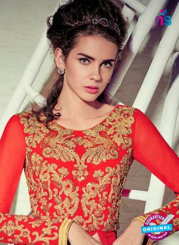 Jinaam 4004 Red Georgette Embroidery Party Wear Suit Online