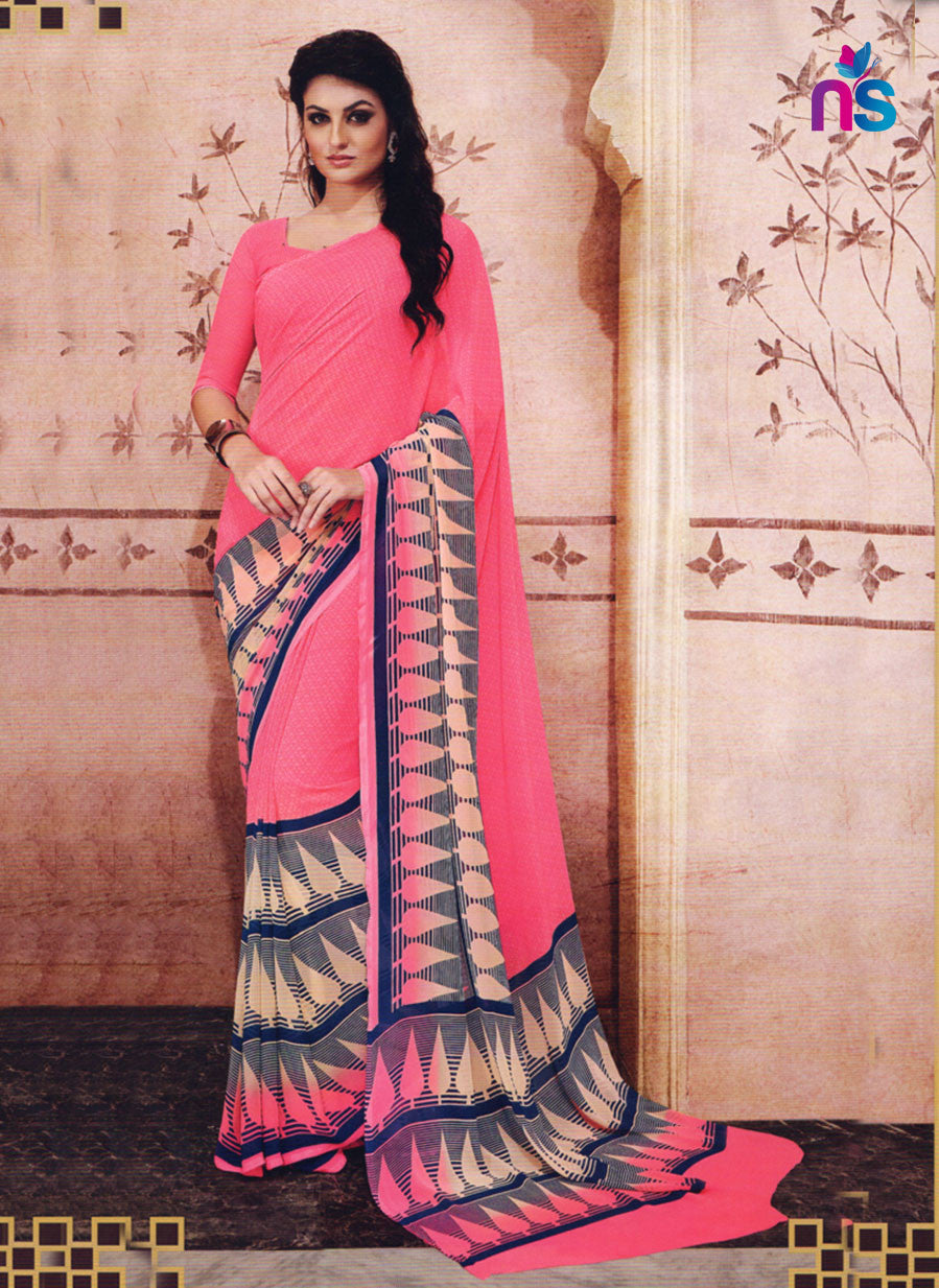NS11205 Pink and Gray Daily Wear Printed Cotton Saree