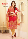 Velly 4004  Red Color Glace Cotton Designer Suit