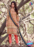 NS 12455 Multicolor and Red Printed Cambric Suit