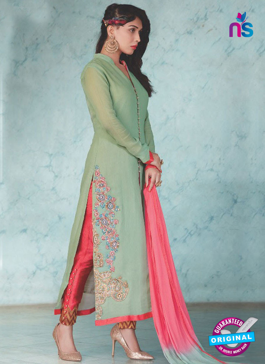 SC 13237 SeaGreen and Red Embroidered Georgette Designer Suit