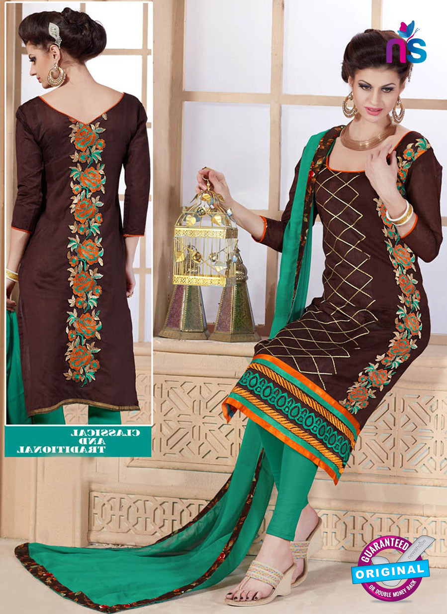 Maisha 4005 Brown and Sea Green Chanderi Straight Suit