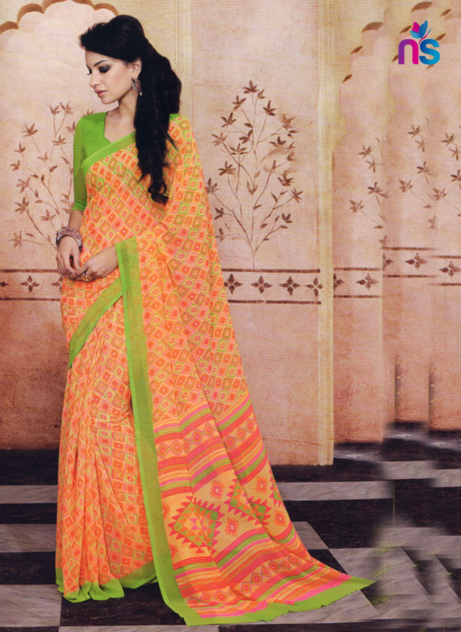 NS11206 Yellow Orange and Green Daily Wear Printed Cotton Saree