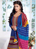 NS10019  Blue & Orange Color Semi Lawn Designer Suit