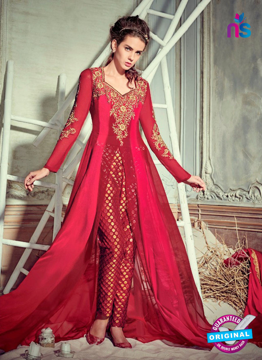Jinaam 4006 Maroon Georgette Embroidery Party Wear Suit