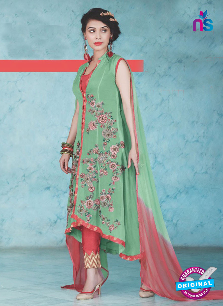 SC 13238 Green and Red Embroidered Georgette Designer Suit