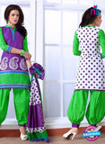 NS10074 Purple,Green and White Cotton Suit