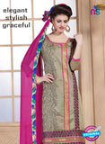 NS11067 Beige and Magenta Chanderi Straight Suit