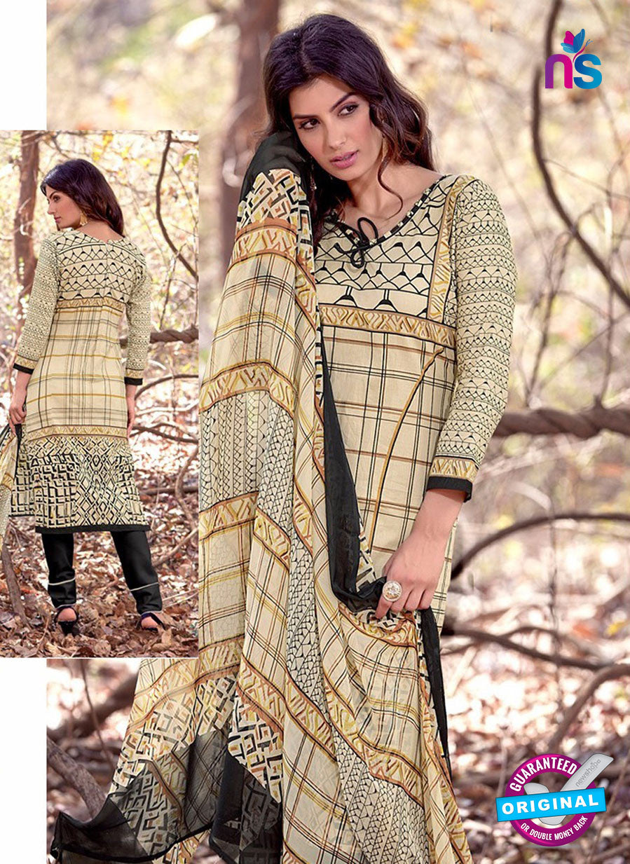 NS 12456 Beige and Black Printed Cambric Suit