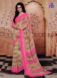NS11207 Tan Brown and Pink Daily Wear Printed Cotton Saree