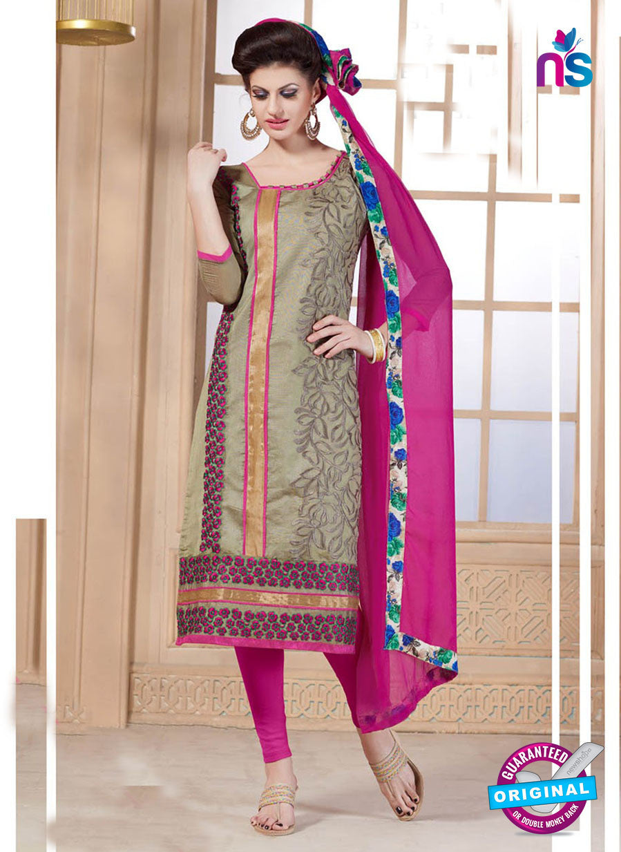NS11067 Brown and Magenta Chanderi Straight Suit