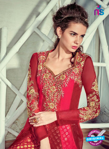 Jinaam 4006 Maroon Georgette Embroidery Party Wear Suit Online