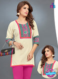 SC 13778 Beige Cotton Exclusive Fancy Semi Stitched Kurti